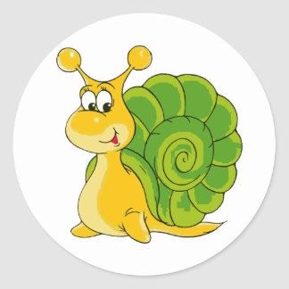 Sweet Smiling Snail Classic Round Sticker