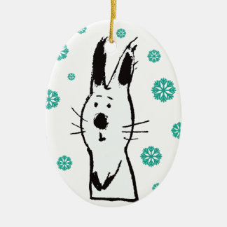 Sweet Snow Rabbit Christmas Oval Ornament