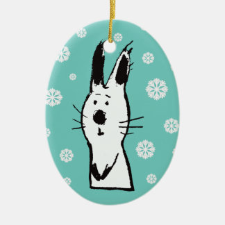 Sweet Snow Rabbit Turquoise Oval Ornament