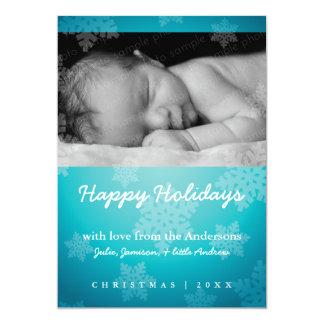 "Sweet snowflake blue holiday photo card 5"" x 7"" invitation card"