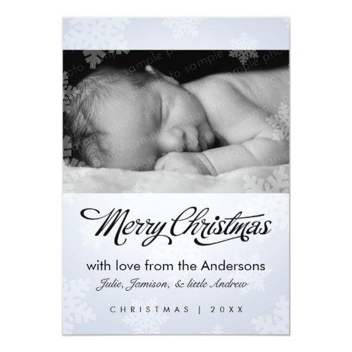 Sweet snowflake holiday photo card personalized invitation