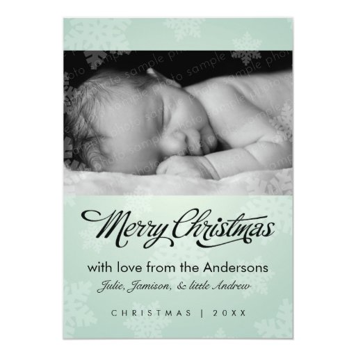Sweet snowflake mint holiday photo card announcements