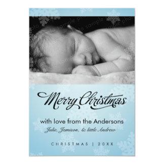 "Sweet snowflake pale blue holiday photo card 5"" x 7"" invitation card"