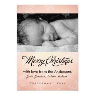 "Sweet snowflake pale peach holiday photo card 5"" x 7"" invitation card"