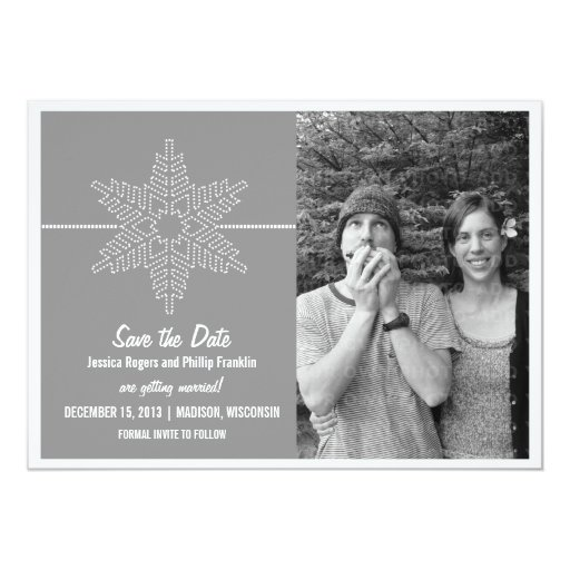 Sweet Snowflake Save the Date Invite, Gray
