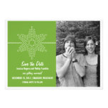 Sweet Snowflake Save the Date Invite, Green