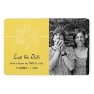 Sweet Snowflake Save the Date Magnet, Yellow Magnet
