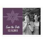 Sweet Snowflake Save the Date Postcard, Purple