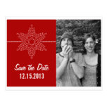 Sweet Snowflake Save the Date Postcard, Red