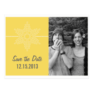 Sweet Snowflake Save the Date Postcard, Yellow Postcard