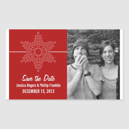 Sweet Snowflake Save the Date Stickers, Red
