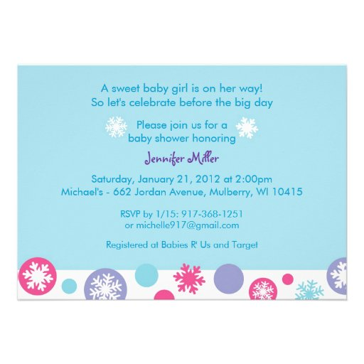 sweet snowflake winter baby shower invitations zazzle