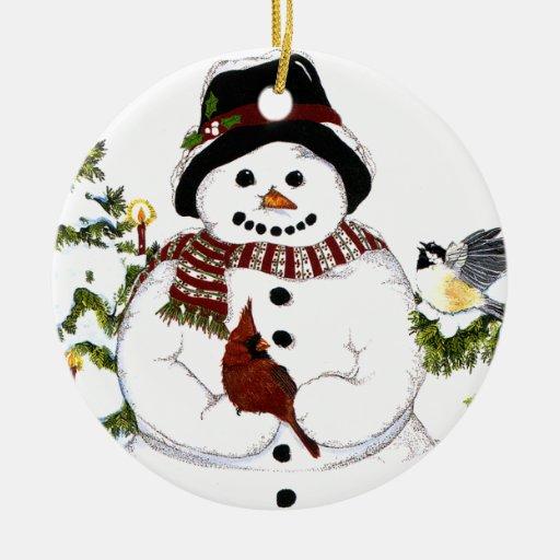 Sweet snowlady and cardinal, chickadee ornament.