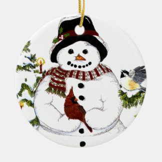 Sweet snowlady and cardinal, chickadee ornament. Double-Sided ceramic round christmas ornament