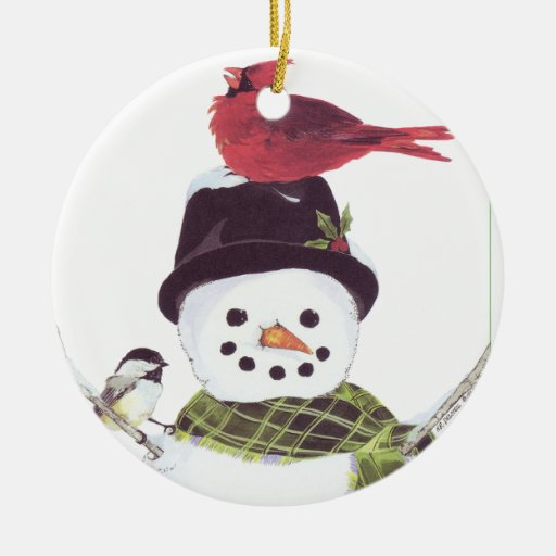 Sweet snowman and cardinal ornament.