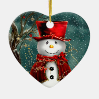Sweet Snowman Double-Sided Heart Ceramic Christmas Ornament