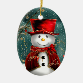 Sweet Snowman Double-Sided Oval Ceramic Christmas Ornament