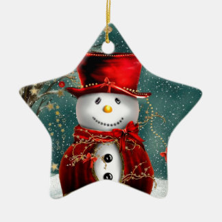 Sweet Snowman Double-Sided Star Ceramic Christmas Ornament