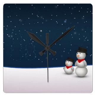 Sweet Snowmen Constellation - Wall Clock