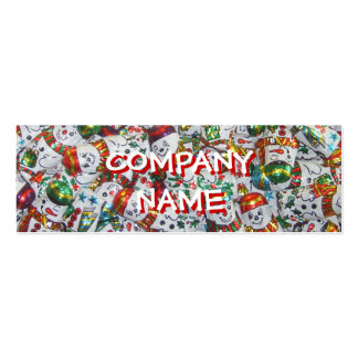 Sweet Snowmen front text red skinny Mini Business Card
