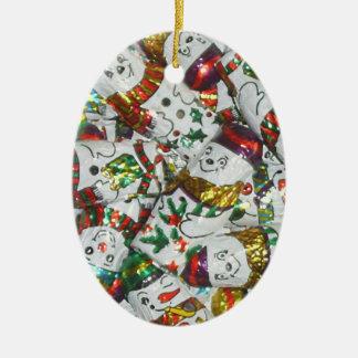 Sweet Snowmen ornament oval