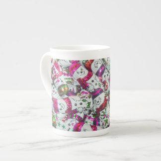 Sweet Snowmen Pink bone china mug