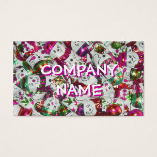Sweet Snowmen Pink business card front text white