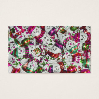 Sweet Snowmen Pink business card template pink