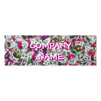 Sweet Snowmen Pink front text pink skinny Mini Business Card