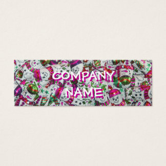 Sweet Snowmen Pink front text white skinny Mini Business Card