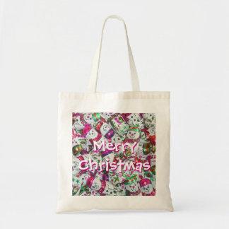 Sweet Snowmen Pink Merry Christmas tote bag