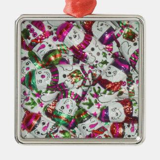 Sweet Snowmen Pink ornament square