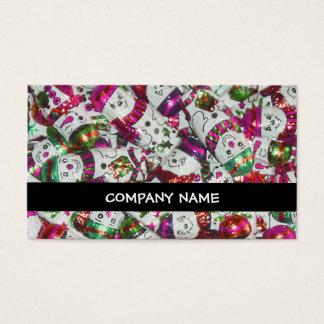 Sweet Snowmen Pink stripe business card black