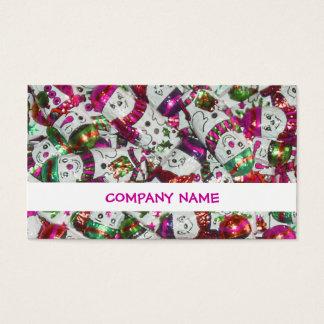 Sweet Snowmen Pink stripe business card white