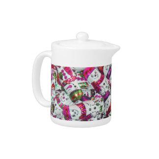 Sweet Snowmen Pink teapot