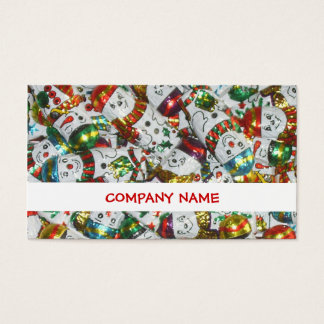 Sweet Snowmen stripe business card white