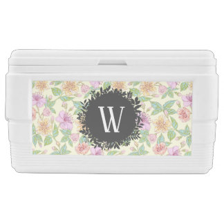 Sweet Soft Colored Spring Flowers with Monogram Ice Chest