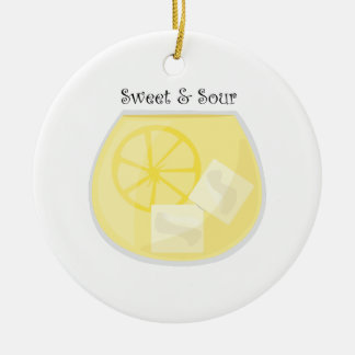 Sweet & Sour Double-Sided Ceramic Round Christmas Ornament