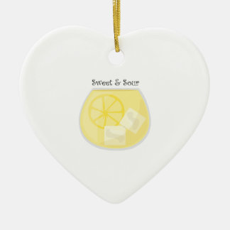 Sweet & Sour Double-Sided Heart Ceramic Christmas Ornament