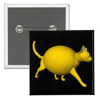 Sweet-Sour Lemon Cat 2 Inch Square Button