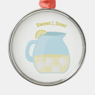 Sweet & Sour Round Metal Christmas Ornament