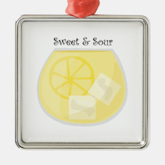 Sweet & Sour Square Metal Christmas Ornament