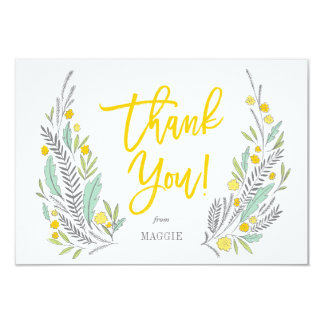 Sweet Sprigs Gender Neutral Flat Thank You Note Card
