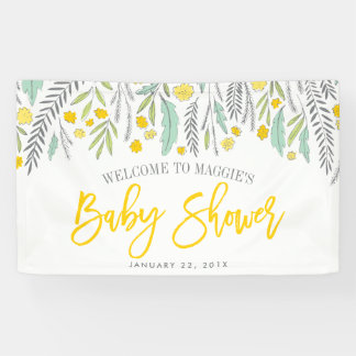 Sweet Sprigs Neutral Baby Shower Sign Banner Sign