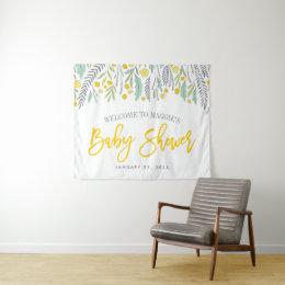 Sweet Sprigs Neutral Baby Shower Sign Tapestry