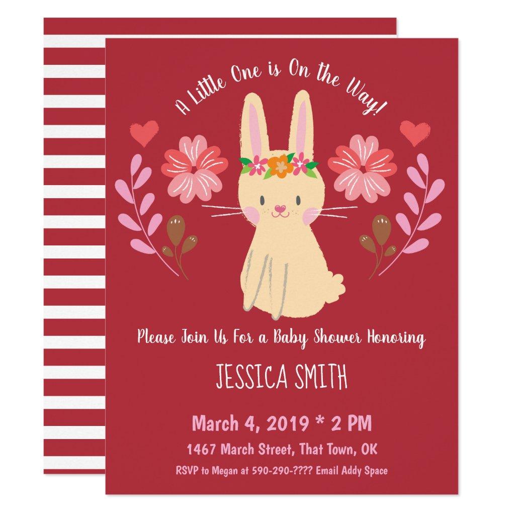 Sweet Spring Bunny Folk Art Flowers Baby Shower Invitation