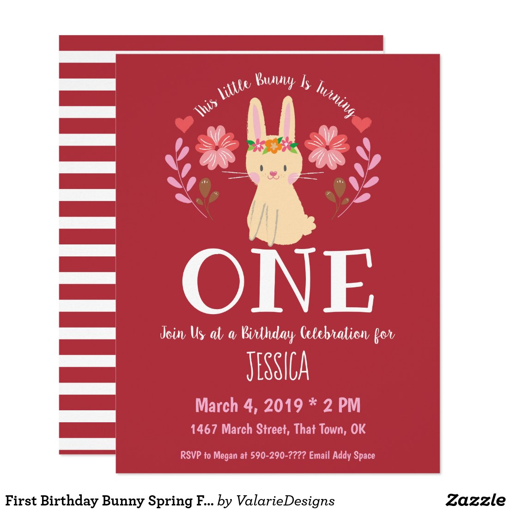Sweet Spring Bunny Folk Art Flowers First Birthday Invitation