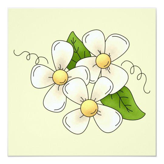 Sweet Spring Flower Blossom Cartoon Clipart Design Card
