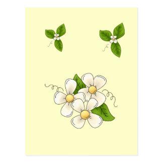 Sweet Spring Flower Blossom Cartoon Clipart Design Postcard