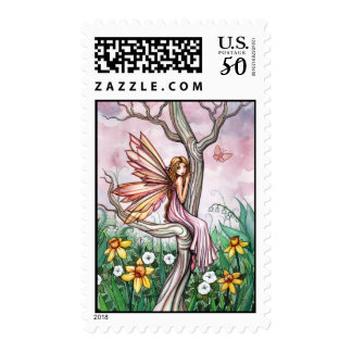 Sweet Spring Flower Fairy Postage Stamps